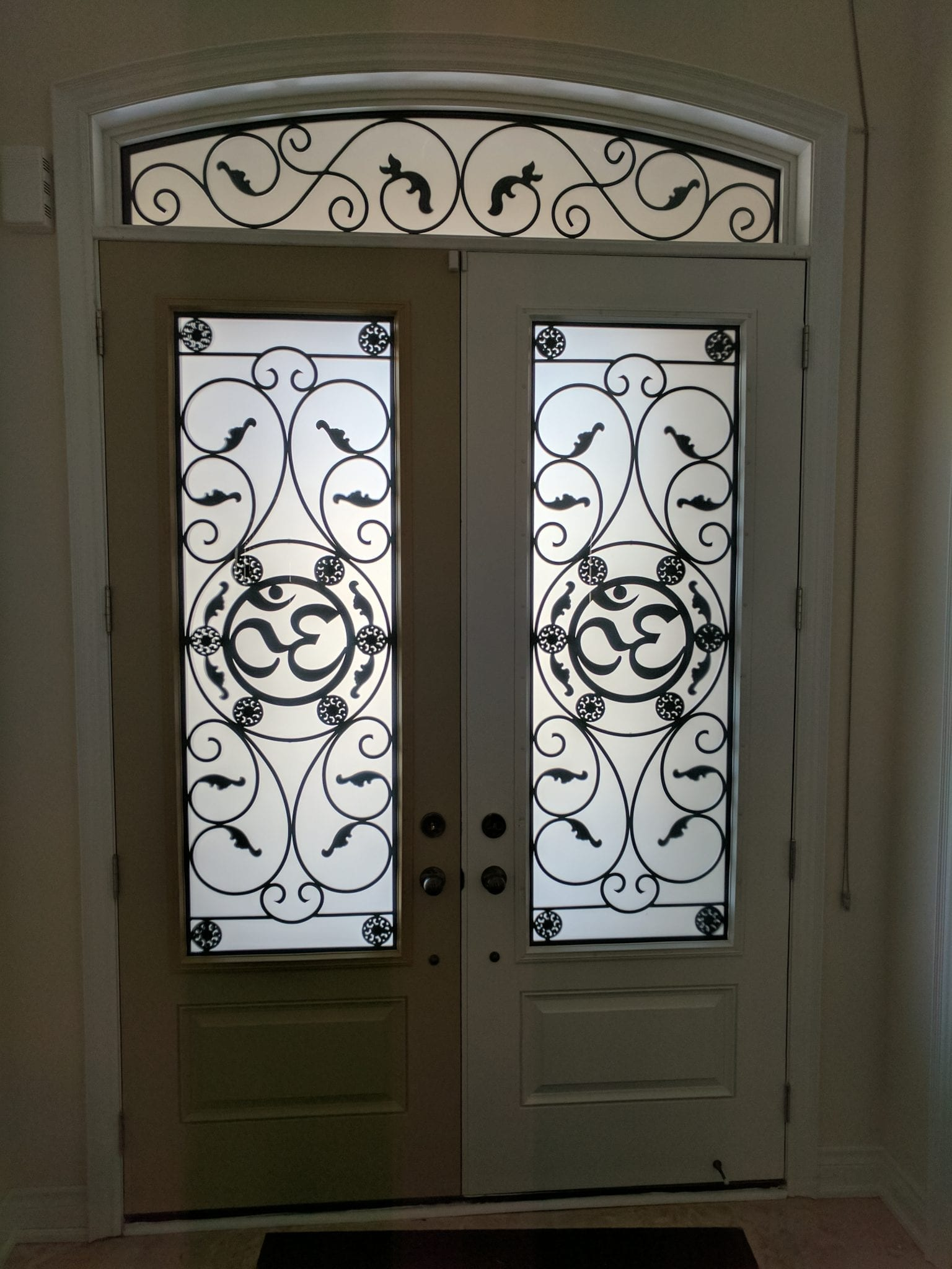 custom door inserts by Randal's Wrought Iron & Stained Glass