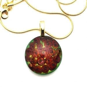 Round Abstract Roses Pendant Necklace by Sarita Kamat